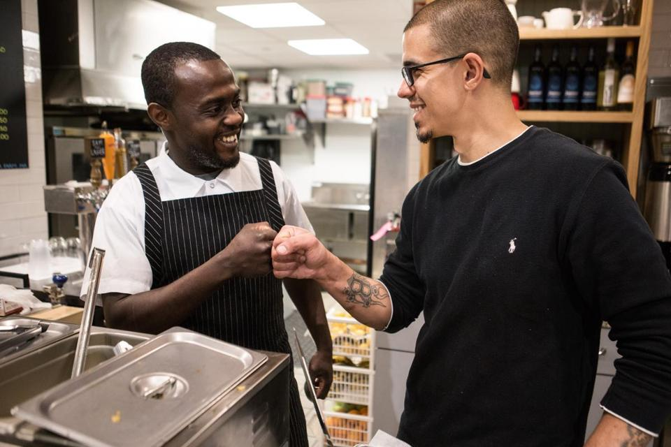 Kwasi Kwaa (left) and Tim Ellis at the Chop Bar pop-up.